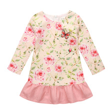 Fille Robes Papillon Poupées robe Automne Enfants robe À Manches Longues Enfants Princesse Robes âge de 3-10 T