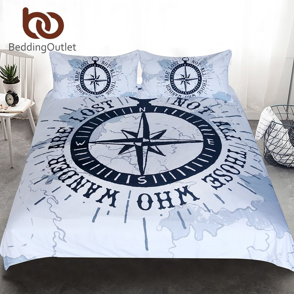 763bb26c8a60e BeddingOutlet Compass Bedding Set Nautical Map Duvet Cover Navy Blue and  White Bedclothes Adults Boys Cool Home Textiles 3 Piece