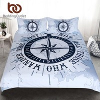 BeddingOutlet Compass Bedding Set Nautical Map Duvet Cover Navy Blue and White Bedclothes Adults Boys Cool Home Textiles 3 Piece