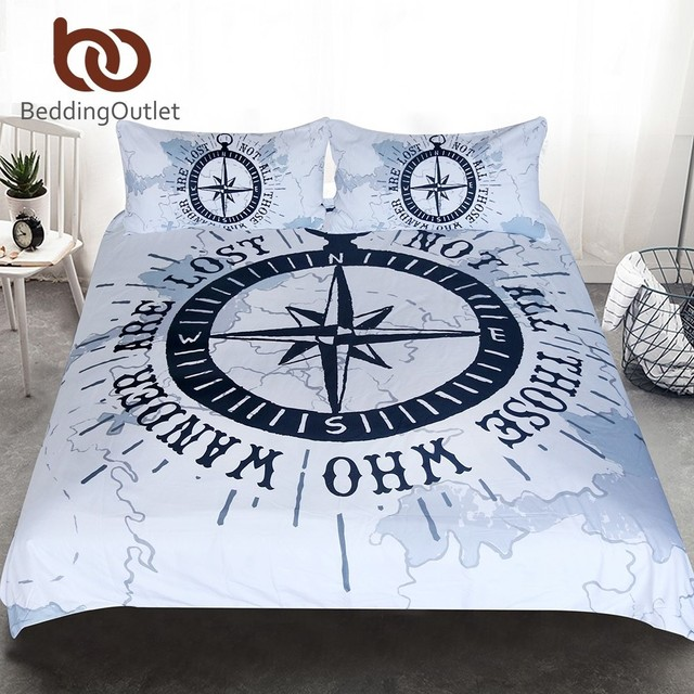 beddingoutlet compass bedding set nautical map duvet cover navy blue and white bedclothes adults boys cool - Navy Bedding