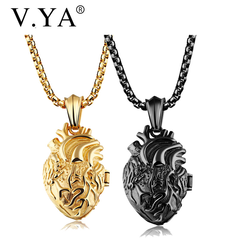 V.Ya Punk Anatomically Organ Mens 316L Stainless Steel Pendant Necklaces Boys 55-60CM Men Black Gold Silver Link Chain Jewelry