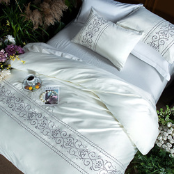 White silver cotton imitate silk luxury Bedding Set queen king size bed set Bedsheets linen Europe embroidery Duvet cover set