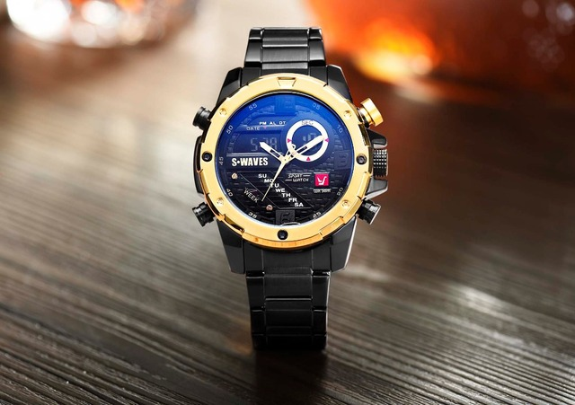 SWAVES Brand Dual Display Watches Men Wach Quartz Sport Waterproof Digital Watch Big Clock Stainless Steel Relogio Masculino 3
