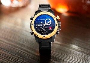 Image 4 - SWAVES ブランドデュアルディスプレイは、男性ワッハ石英スポーツ防水デジタル時計大時計ステンレス鋼レロジオ Masculino