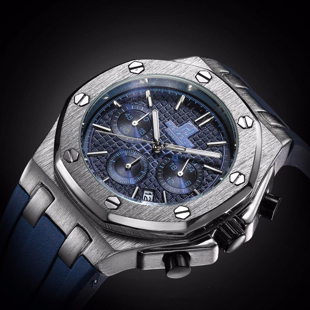 TORBOLLO New Sport Quartz Men Watch Chronograph Function Gold Case Rubber Band relogio masculino men clock
