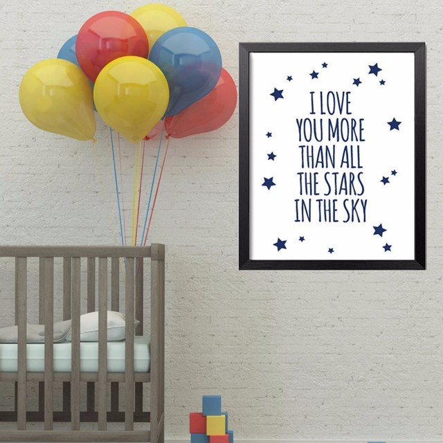 Nursery Quotes I Love You More Than All Stars In Sky Wall Art Poster