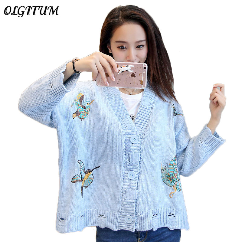 2018 autumn/ winter new style cute women sweater cardigan delicate embroidery holes short paragraph casual loose soft sweater