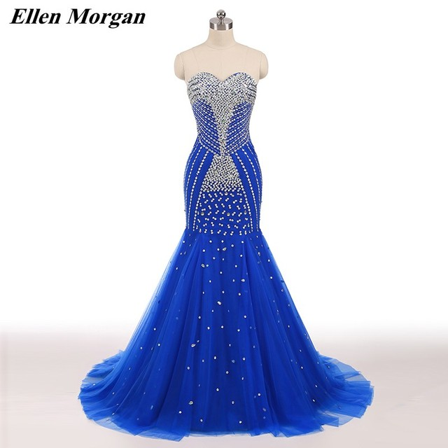 Sexy Blue Mermaid Corset Prom Dresses 2019 Elegant Runway Shiny Tulle Long Crystal Stones Elegant Formal Gowns For Pageant Women