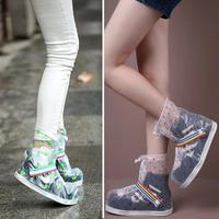 1 pair Scarpe Trasparenti Coprono Stivali Da Pioggia antiscivolo scarpe Impermeabili Impermeabile spessa copertura antiscivolo scarpe da pioggia copertura L30