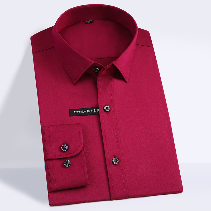 High Quality Classic Style Bamboo Fiber Men Dress Shirt Solid Color Men's Social Shirts Office Wear Easy Care(Regular Fit) 15