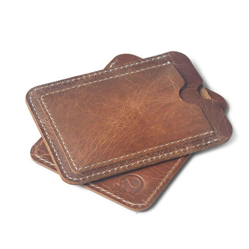 पागल घोड़े Cowhide चमड़े क्रेडिट कार्ड धारक असली लेदर आईडी कार्ड धारकों पुरुषों व्यापार आईडी बटुआ प्रेमी के लिए बटुआ स्लिम बटुआ