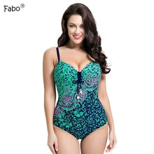 Fabo 2017 Sexy Plus Size Swimwear Large Size One Piece Swimsuit Women Push Up Bathing Suit Women High Waist Swimsuit Monokini