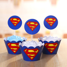 24pcs Superman Party Supplies Cupcake Wrappers Favors Cupcake Toppers Kids Boys birthday Baby Shower Superhero Party Decoration