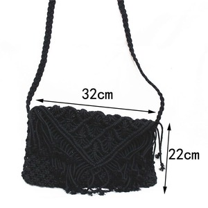 Image 3 - New 2019 tassel straw bag large clamshell cotton hand woven casual female beach bag  Knitted Messenger Bags