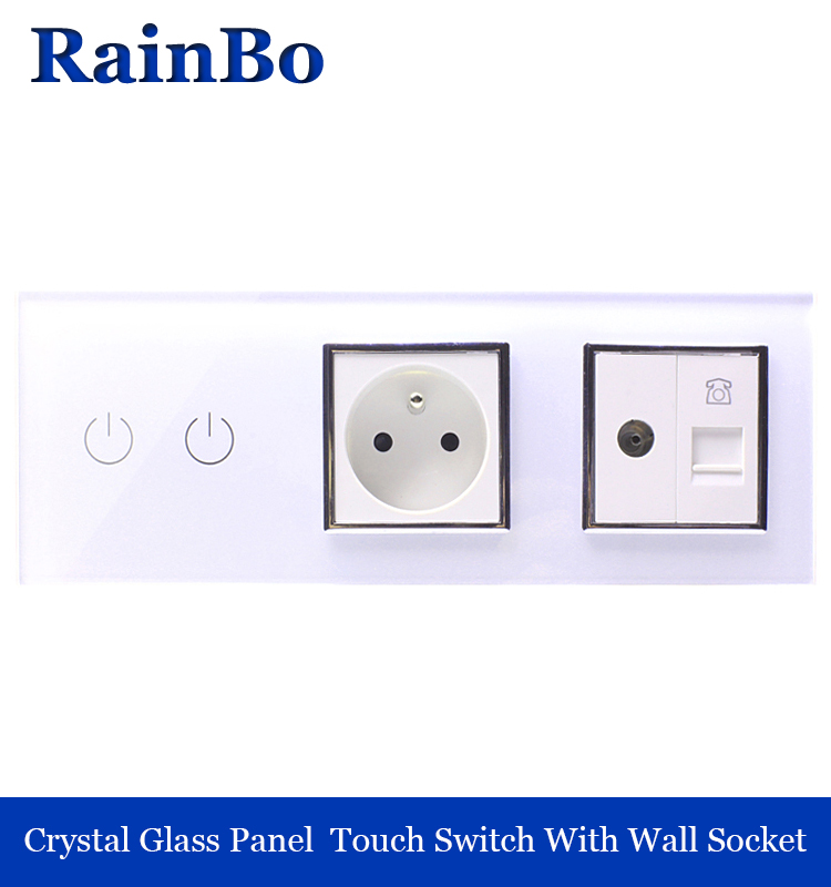 rainbo Crystal Glass Panel  wall Switch EU touch control Screen Wall Light Switch 2gang1way  tv phone Socket A39218F8TVTPW/B 2017 free shipping smart wall switch crystal glass panel switch us 2 gang remote control touch switch wall light switch for led