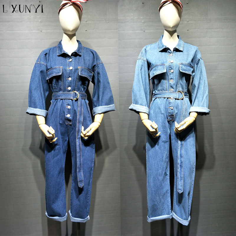 LXUNYI 2018 Summer Thin Women Jeans Jumpsuit Denim Cargo Belt Single Breasted Ankle Length Overalls Female Long Sleeve Pockets