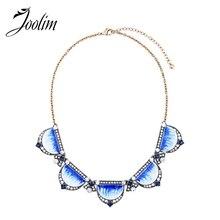 JOOLIM Light Weight Luxuy Blue Enamel Collar Necklace Cocktail Statement Jewelry Brand 2018 Spring