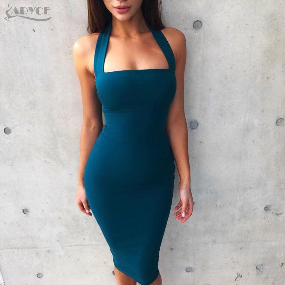 Adyce 2017 Fashion Summer Dress Women Sexy Halter Knee Length Bodycon Bandage Dress Vestidos Elegant Clubwear