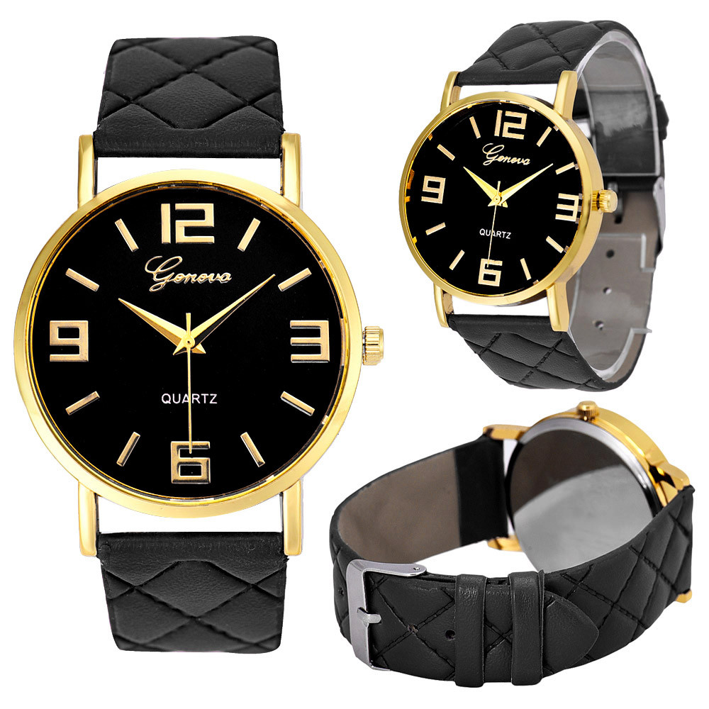 unisex watch 9colors montre homme geneva pu leather quartz. Black Bedroom Furniture Sets. Home Design Ideas