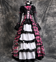 Gothic Victorian Plaid Party Cosplay Long Dress