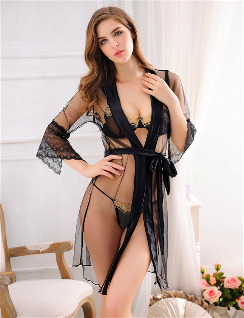 Rw80157 Sheer Robe See Through Nightgown Ladies Chemise -3481