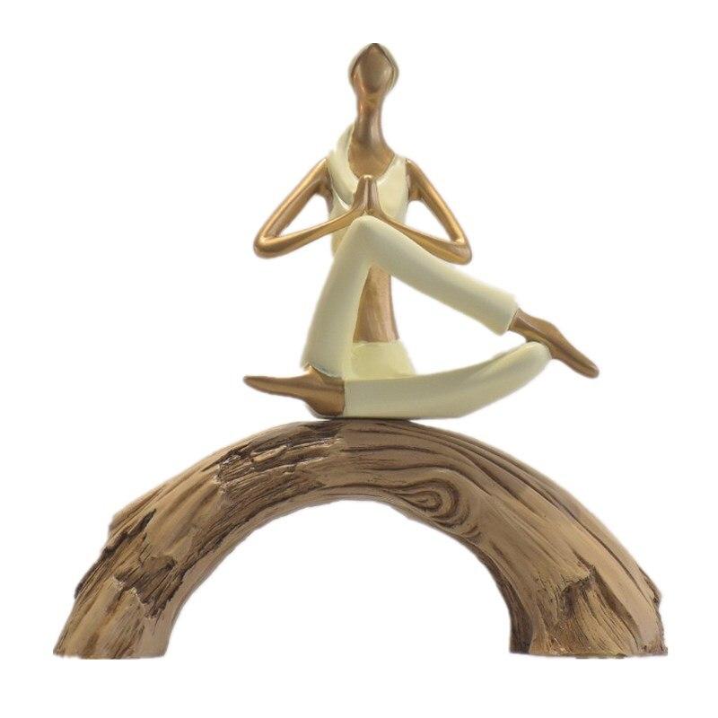 Nouvelle exquise jolie fille maison Yoga décoration Sculpture mode Art Yoga fille maison Statue R477