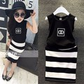Korean version of the new suit for Girls Black and white printing circle cotton suit