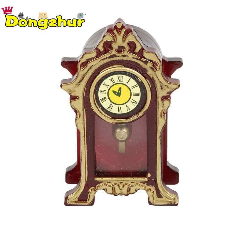 Dongzhur New Vintage Mini Clock Dollhouse Miniatures 1:12 Accessories Fireplace Top Of The Cabinet Doll House Furniture WWP1266