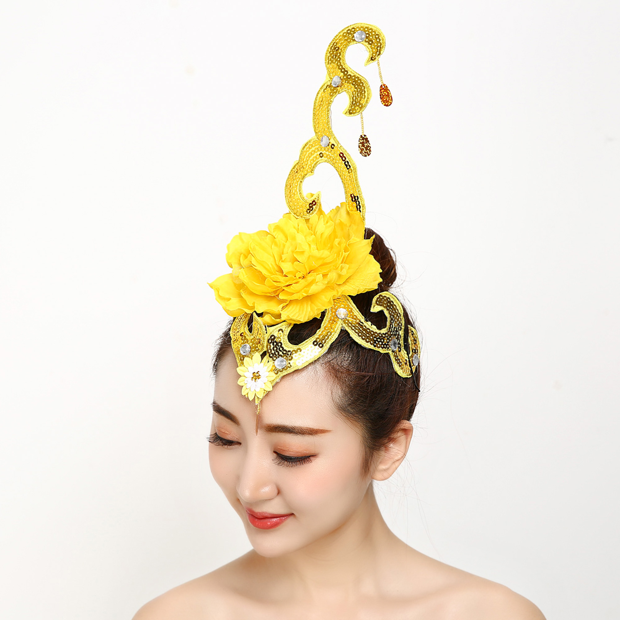 New Opening Dance Headdress Performing Headdress Fitness Exercise Latin Dance Performing Headdress Yangko Competition