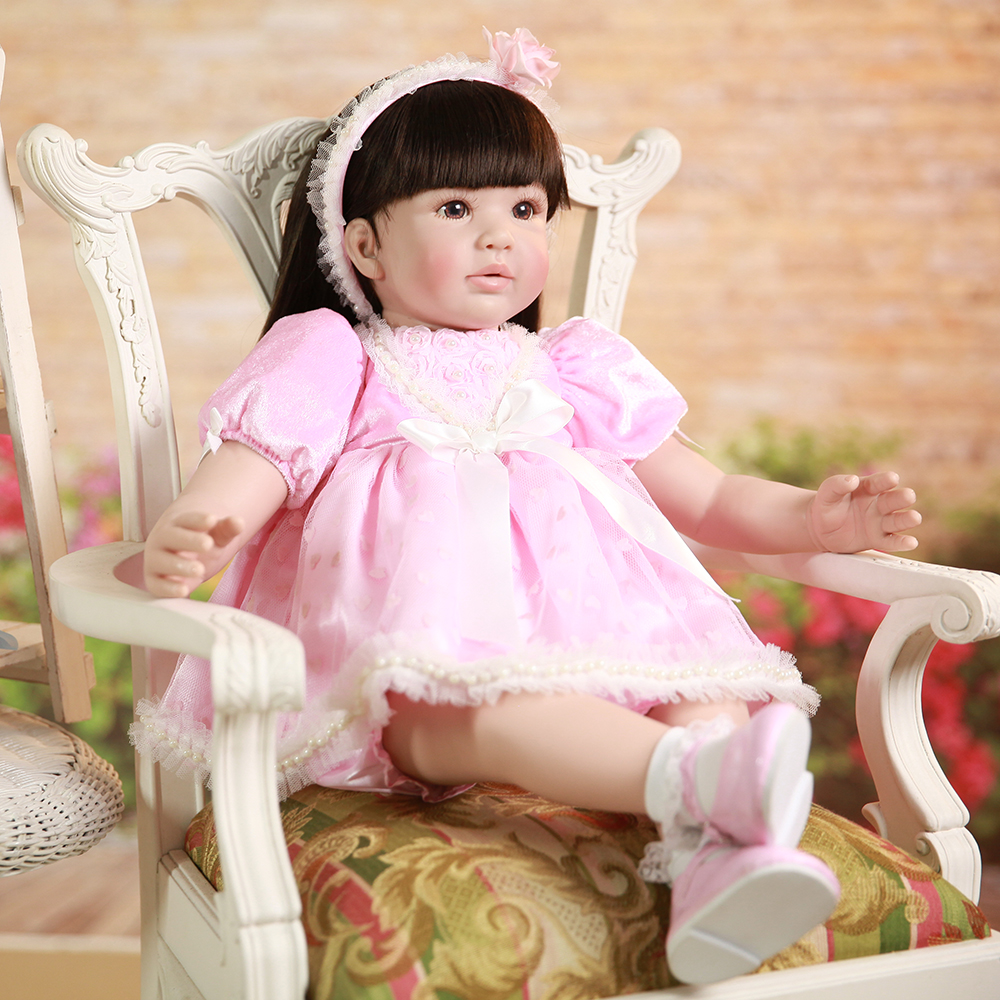 Adora Silicone Reborn Toddler Doll with Long Hair Lifelike Toddler Princess Girl Baby Alive Dolls Toys for Sale Girls Boys Toys new 22 adora reborn toddler doll with red layered dress high quality princess girl doll toy gifts fashion dolls toys for girls