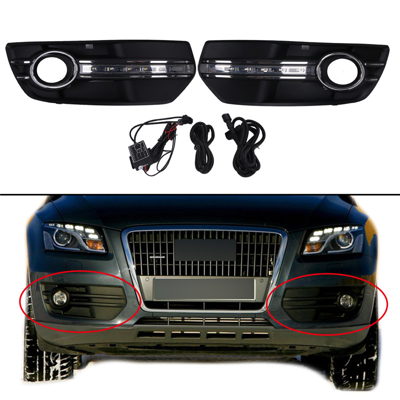1Pair Bumper Grills Front Fog Lamps Cover Grille Grill For Audi Q5 2009 2010 2011 2012 White DRL Daytime Running Lights LED # racing grills version aluminum alloy car styling refit grille air intake grid radiator grill for kla k5 2012 14