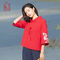 LZJN Women Tunic Blouse 2019 Spring Summer Basic Shirt Chinese Style Turtleneck 3/4 Sleeve Ladies Red Embroidery Sweatshirt Tops
