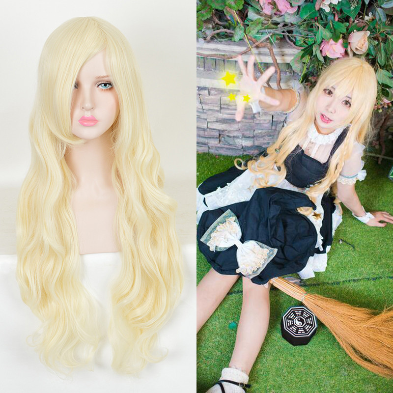 Anime Cosplay Wig Kagerou Project Kozakura Mari Long Wavy Flaxen Synthetic Wigs Fashion Party