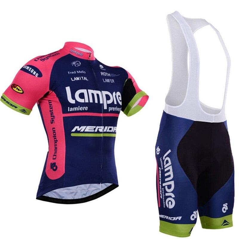 Prix pour Équipe pro lampre merida cyclisme maillot ropa ciclismo skinsuit vélo jersey + tmb vélo cuissard vélo définit vêtements