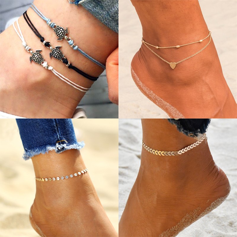 New Boho Anklets For women On Foot Barefoot Sandals Shoes Heart Turtle arrow charm New Summer Beach Ankle Bracelets Jewelry