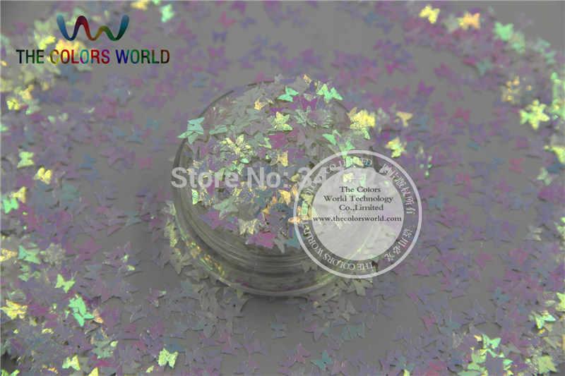 TCT-102 Warna-warni Mutiara Warna Glitter Butterfly Bentuk untuk Desain Kuku Nail Art Dan DIY Ukuran: 3 Mm