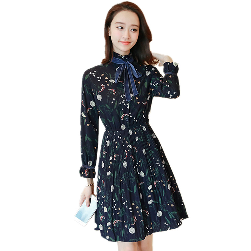 2018 New Spring and Autumn Women Fashion Slim Bow Long Sleeve Print Chiffon Dress Female Floral Pleated Dress Vestido C206 floral chiffon dress long sleeve