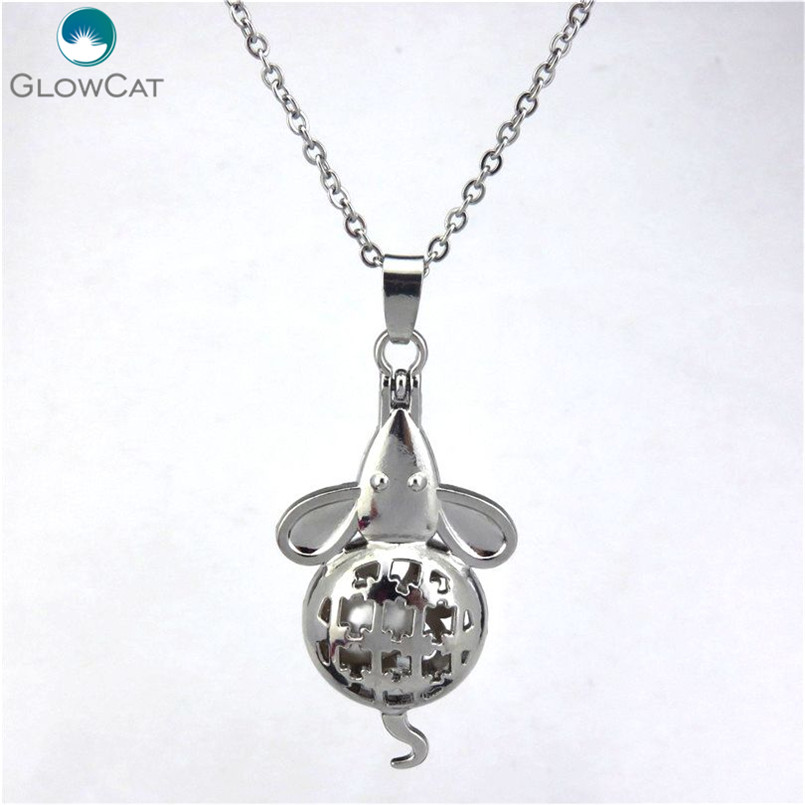 Cute Mouse Locket Fragrance Essential Oil Aromatherapy Diffuser Pendant Necklace