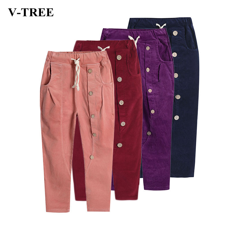 V-TREE Corduroy Girls Harem Pants Winter Autumn Casual Pants For Girl Children Trousers Thicken School Pants Teenager Clothes ruige x1 stylish in ear earphones w microphone cable control white 3 5mm plug 127cm