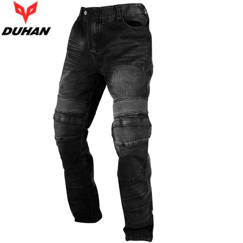 ФОТО DUHAN Men's Motocross Racing Motorcycle Racing Jeans Black Casual Pants Wearproof Casual Pants With Knee Protector Guards