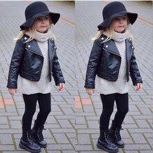 2017 Fashion Kids Girl Motorcycle PU Leather Jacket Biker Coat Overcoat Black