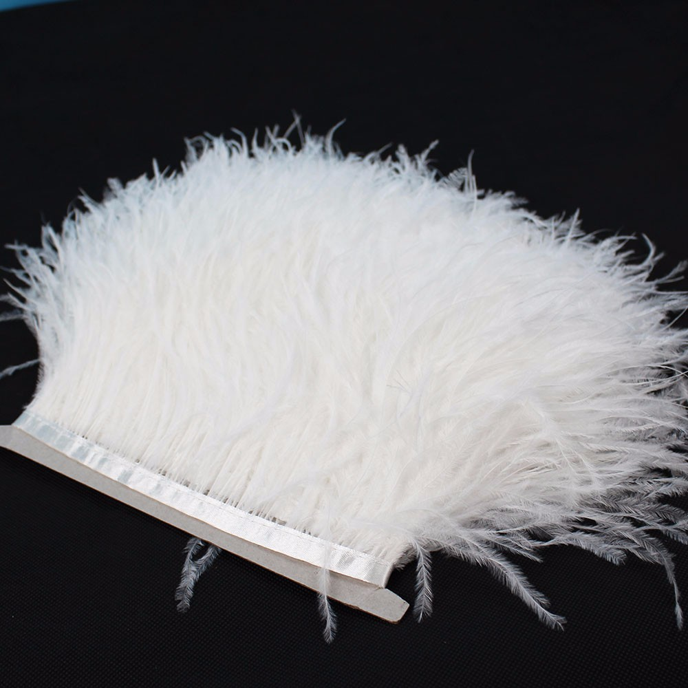 White craft feathers bulk - 8 10cm White Feather Trim Ostrich Feathers Trimming Feather Fringe 1 Meter Lot Dress Cloths Making Craft