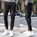 New arrival fashion pu leather patchwork joggers elasic waist casal beam foot pants sweatpants men's clothing size m-5xl XXK6