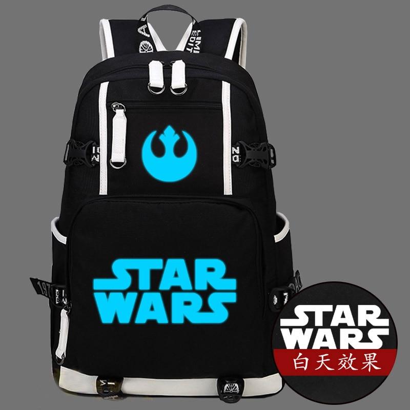 Hot Star Wars Backpack Canvas Bag Luminous Schoolbag Travel Bags