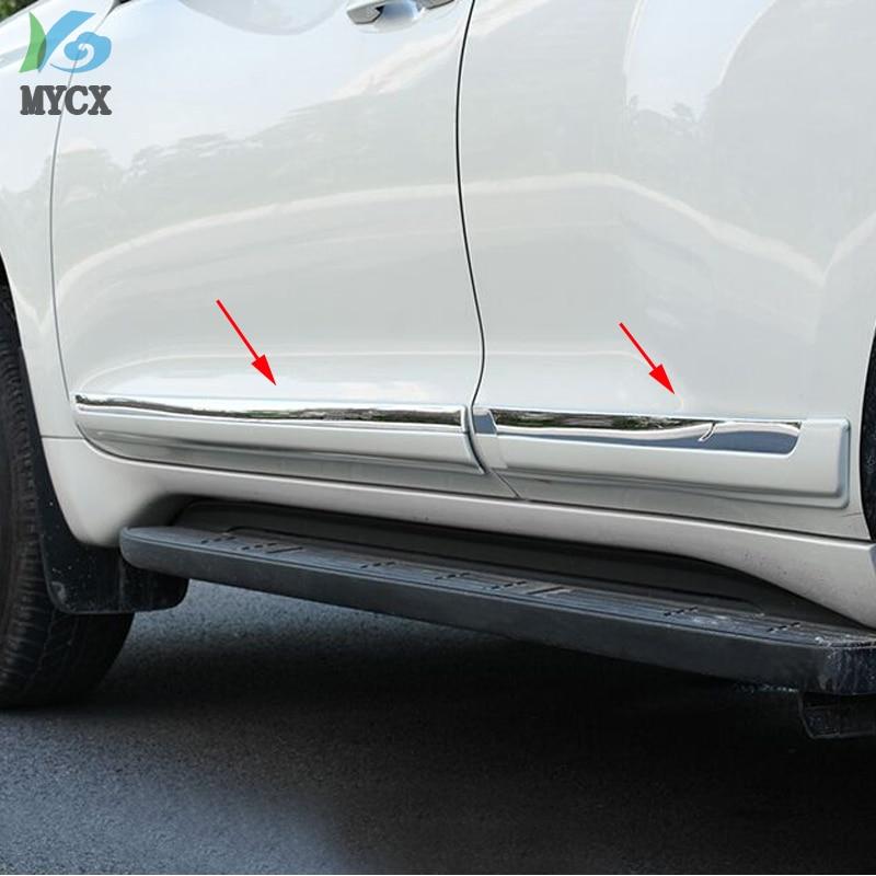 Pearl White Side door molding trim For Toyota Prado Fj150 2010 2011 2012 2013