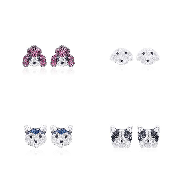 XIUMEIYIZU New Arrivals Fashion Cute Cubic Zirconia Poodle Bulldog Husky Puppy Dogs Stud Earrings For Women Jewelry Gift
