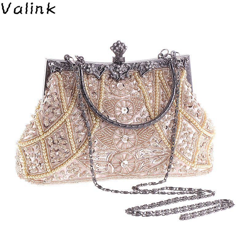 Valink 2018 Women Retro Handbag Luxury Evening Clutch Bag Embroidered Design Ladies Wedding Evening Party Handbag Bolsa Feminina