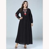 Fat Sister Plus Size 4XL Vintage Folk Style Embroidered Dress Long sleeve slap up Dress autumn lady Dress Vestidos British style