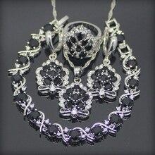 Negro Zafiro Topacio Blanco 925 Pendientes de Plata de La Joyería/Colgante/Collar/Anillos/Pulsera Para Las Mujeres Caja de Regalo libre