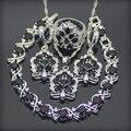 Preto Criado Sapphire Branco Topaz 925 Sterling Silver Jewelry Sets Brincos/Pingente/Colar/Anéis/Pulseira Para mulheres Caixa Livre